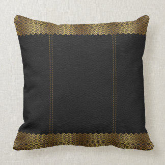 Dark Gray Leather & Gold Geometric Border Throw Pillow