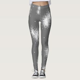 Dark Gray Leggings White Pouf Design