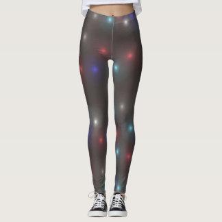 Dark Gray Leggings with Neon White Coral Blue Spot