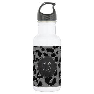 Dark Gray Leopard Animal Print; Chalkboard look 532 Ml Water Bottle