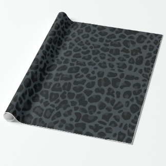 dark gray leopard print pattern wrapping paper