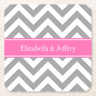 Dark Gray Lg Chevron Hot Pink #2 Name Monogram Square Paper Coaster