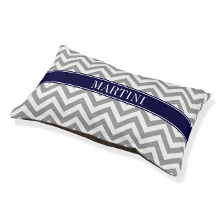 Dark Gray Lg Chevron Navy Blue Name Monogram Pet Bed
