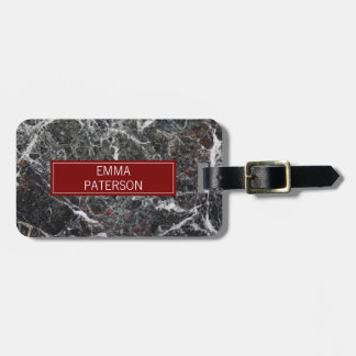 Dark Gray Marble Stone And Red Frame Luggage Tag