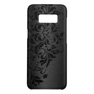 Dark-Gray Metallic Background & Black Swirls Lace Case-Mate Samsung Galaxy S8 Case