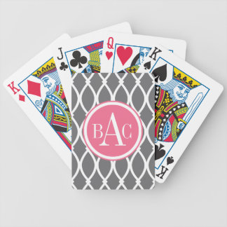 Dark Gray Monogrammed Barcelona Print Bicycle Playing Cards