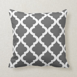 Dark Gray Moroccan Quatrefoil Print Cushion