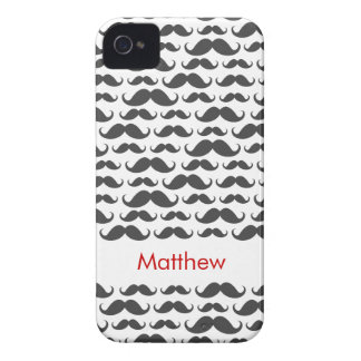 Dark gray mustache pattern personalized name iPhone 4 cover