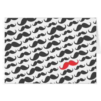 Dark gray mustache pattern with one red moustache card