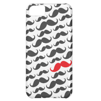Dark gray mustache pattern with one red moustache iPhone 5C case