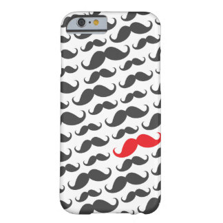 Dark gray mustache pattern with one red moustache iPhone 6 case