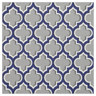 Dark Gray, Navy Blue Moroccan Quatrefoil #5DS Fabric
