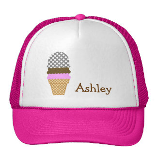 Dark Gray Polka Dots; Ice Cream Cone Trucker Hat