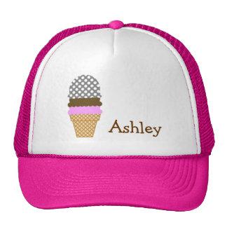 Dark Gray Polka Dots Ice Cream Cone Mesh Hats