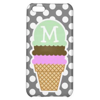 Dark Gray Polka Dots; Ice Cream Cone iPhone 5C Cases