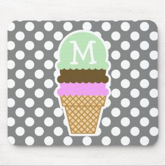 Dark Gray Polka Dots; Ice Cream Cone Mouse Pads