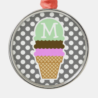 Dark Gray Polka Dots; Ice Cream Cone Silver-Colored Round Decoration