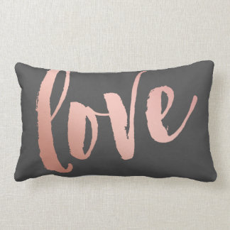 Dark Gray & Rose Gold Love Lumbar Cushion