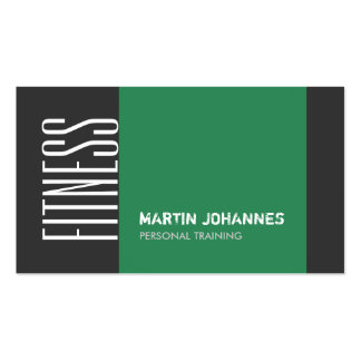 Dark Gray Sea Green Personal Trainer Business Card