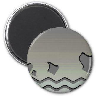 Dark Gray Waves. Abstract Design. 6 Cm Round Magnet