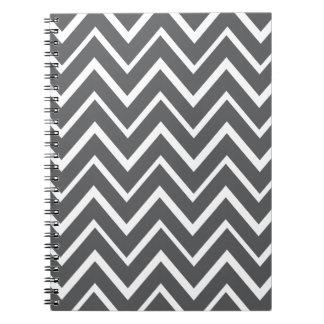 Dark gray whimsical zigzag chevron pattern spiral notebook