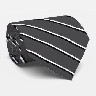 Dark Gray, White and Black Diagonal Stripes Tie