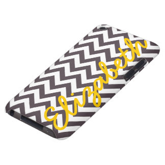 Dark Gray White Chevron Pattern Barely There iPod Cases