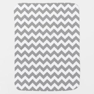 Dark Gray White Chevron Zig-Zag Pattern Baby Blanket