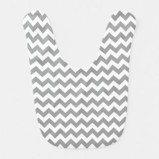 Dark Gray White Chevron Zig-Zag Pattern Bib