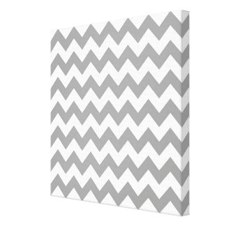Dark Gray White Chevron Zig-Zag Pattern Gallery Wrap Canvas