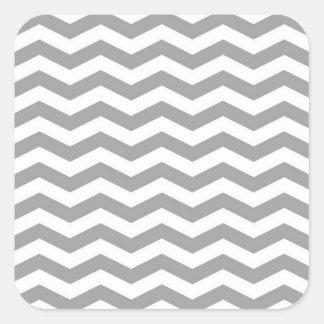 Dark Gray White Chevron Zig-Zag Pattern Tn Square Sticker