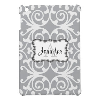 Dark Gray & White Damask monogram iPad mini case