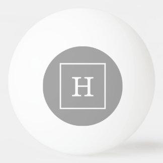 Dark Gray White Framed Initial Monogram Ping Pong Ball