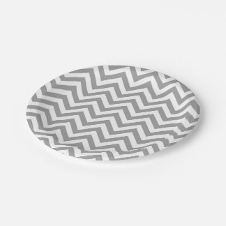 Dark Gray White Large Chevron ZigZag Pattern 7 Inch Paper Plate