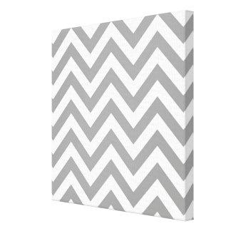 Dark Gray White Large Chevron ZigZag Pattern Stretched Canvas Prints