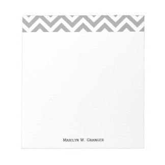 Dark Gray White Large Chevron ZigZag Pattern Notepad