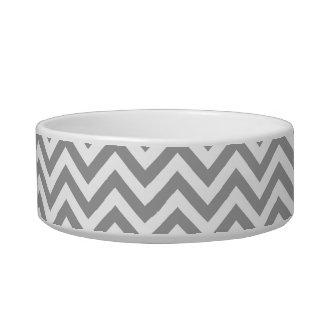 Dark Gray White Large Chevron ZigZag Pattern Pet Bowl