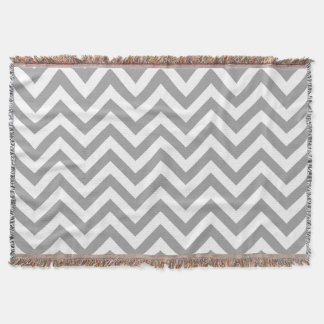 Dark Gray White Large Chevron ZigZag Pattern Throw Blanket