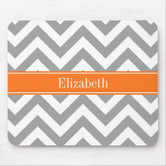 Dark Gray White LG Chevron Pumpkin Name Monogram Mouse Mat