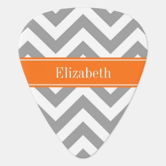 Dark Gray White LG Chevron Pumpkin Name Monogram Plectrum