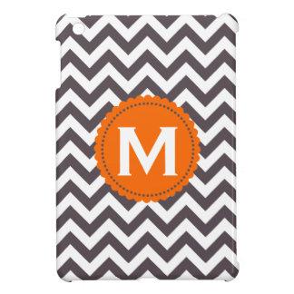 Dark Gray White Monogram Chevron Pattern iPad Mini Cover