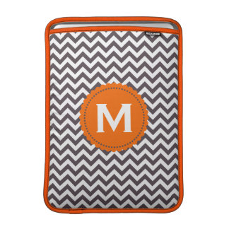 Dark Gray White Monogram Chevron Pattern Sleeve For MacBook Air