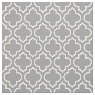 Dark Gray, White Moroccan Quatrefoil #6 Fabric