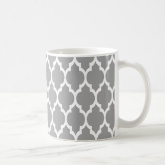Dark Gray White Moroccan Quatrefoil Pattern #4 Coffee Mug