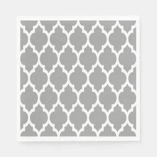 Dark Gray White Moroccan Quatrefoil Pattern #4 Disposable Serviette