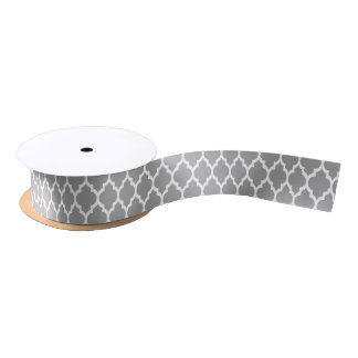 Dark Gray White Moroccan Quatrefoil Pattern #4 Satin Ribbon