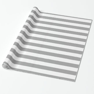 Dark Gray White XL Stripes Pattern Wrapping Paper
