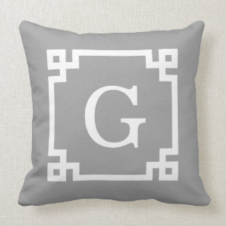Dark Gray Wht Greek Key Frame #2 Initial Monogram Cushion