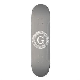 Dark Gray Wht Greek Key Rnd Frame Initial Monogram Skate Deck