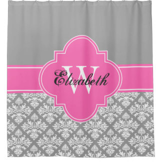 Dark Gray Wht LG Damask #3 CB1IR Hot Pink Monogram Shower Curtain